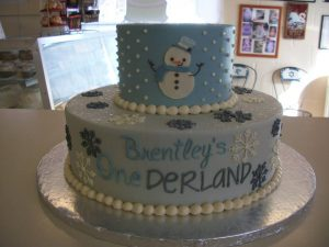 First birthday cake with snowman