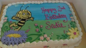 sheet birthday cake with Maya the Bee image