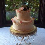 Wedding cake by Desserts by Rita pink jewel