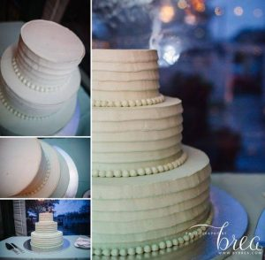 collage of images of a wedding cake with ruffles